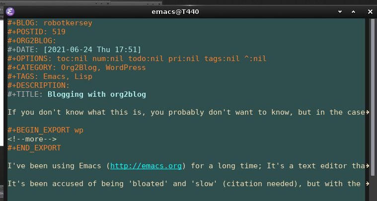 An Emacs frame showing org2blog